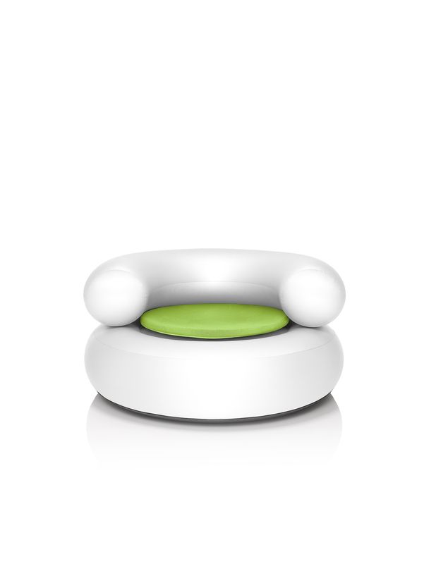 Fatboy Ch-air white with green pillow