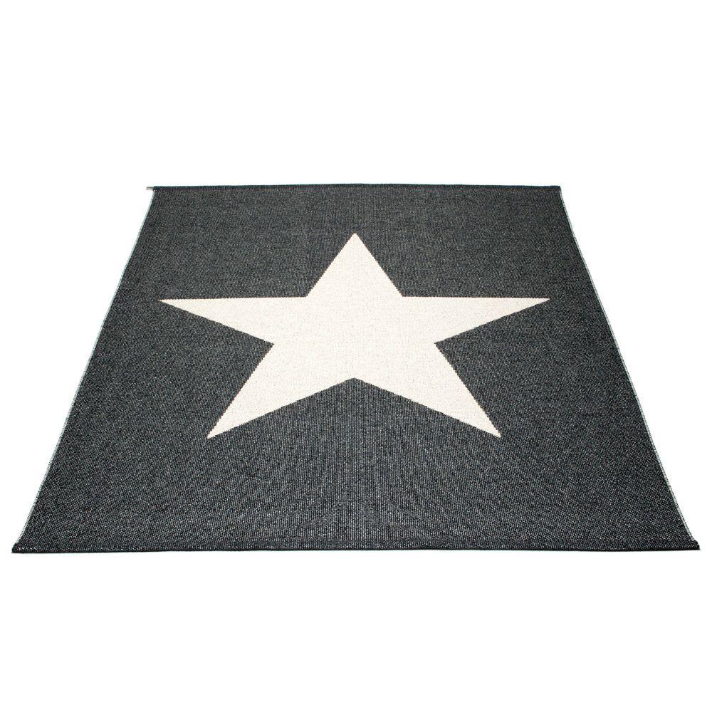 Pappelina Viggo Star muovimatto black metallic-vanilla 180x230 cm